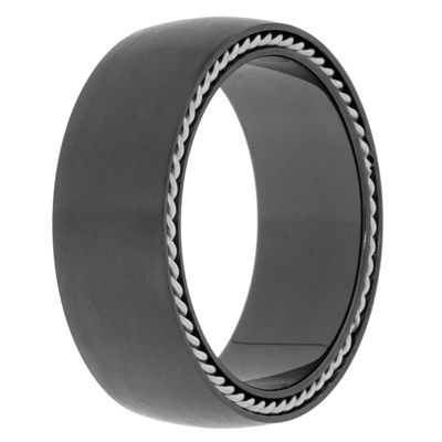 Mens Black Zirconium Band