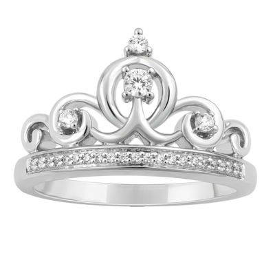 "Enchanted Disney Fine Jewelry 1/7 CT. T.W. Genuine White Diamond ""Cinderella"" Sterling Silver Ring"