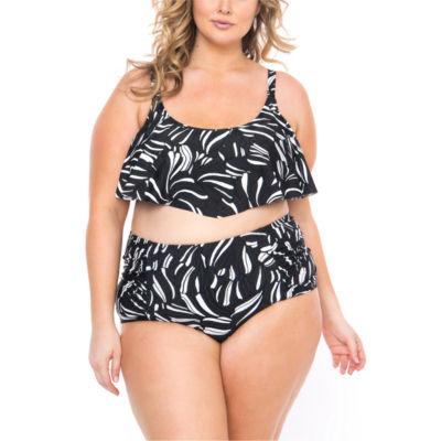 Boutique + Leaf Flounce Swimsuit Top-Plus