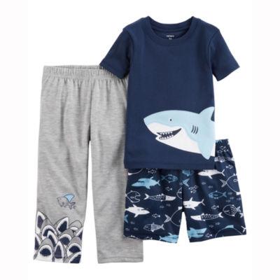 Carter's Shark Print 3 Piece Pajama Set - Baby Boys