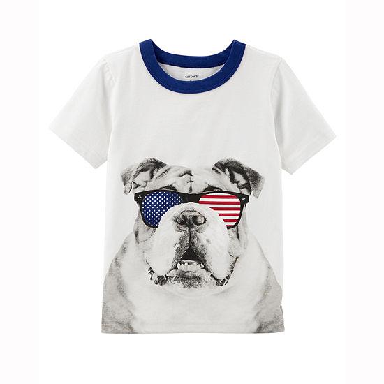 Carter's 4th Of July Boys Round Neck Short Sleeve Graphic T-Shirt - Preschool