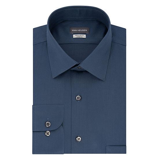 Van Heusen No Iron Lux Sateen Mens Spread Collar Long Sleeve Stretch Dress Shirt
