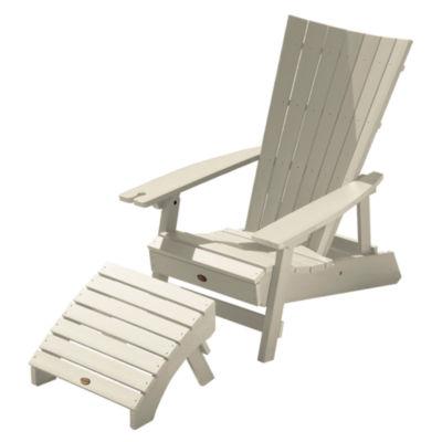 Highwood® Manhattan Beach Adirondack Chair with Wine Glass Holder and Folding Adirondack Ottoman