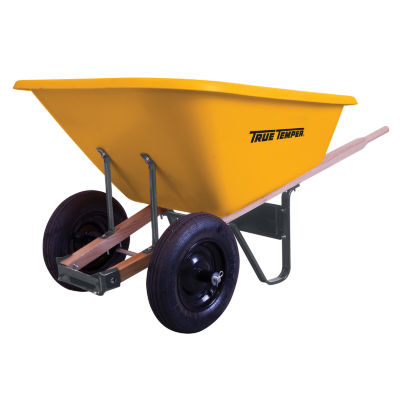 True Temper RP810 8 Cubic Foot Poly Wheelbarrow With Dual Wheels