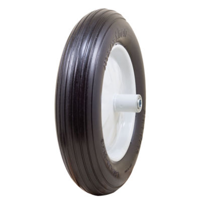 "Marathon 00001 16"" Ribbed Flat Free Wheelbarrow Tire"""