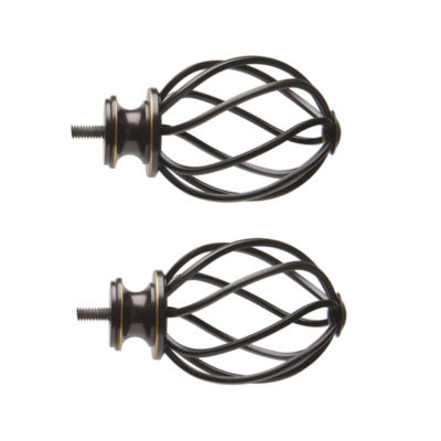 JCPenney Home Mix & Match Swirled Cage 2-pc. Curtain Rod Finials