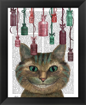 Metaverse Art Cheshire Cat and Bottles Framed WallArt