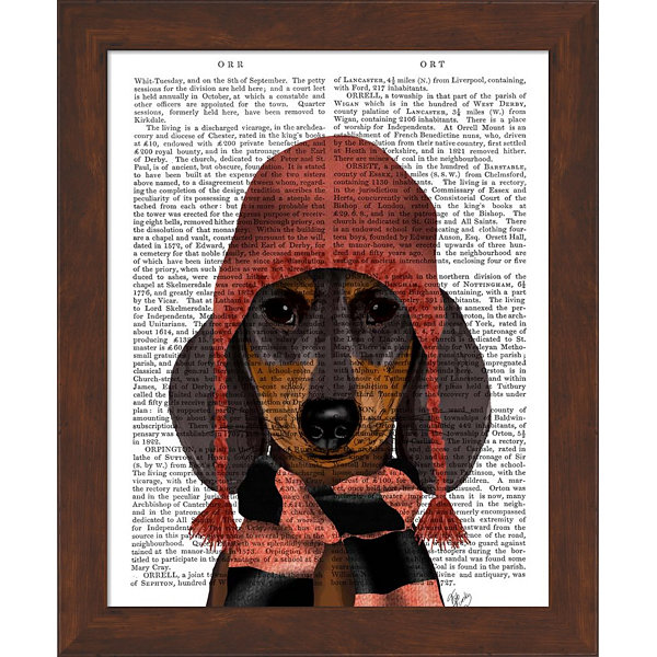Metaverse Art Dachshund in Pink Hat and Scarf Framed Wall Art
