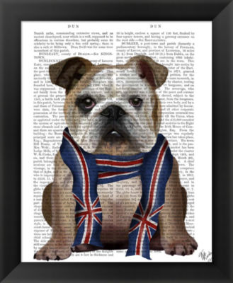 Metaverse Art English Bulldog with Scarf Framed Wall Art