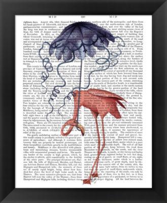 Metaverse Art Flamingo and Parasol Framed Wall Art