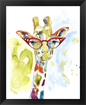 Metaverse Art Smarty-Pants Giraffe Framed Wall Art