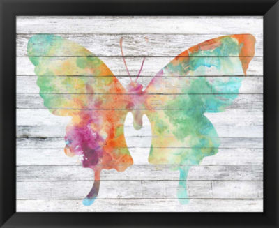 Metaverse Art Wings on Wood II Framed Wall Art