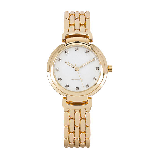 Red Bow Deal 1/10 C.T. T.W. Womens Diamond Accent Gold Tone Bracelet Watch - 12954g-18-E27