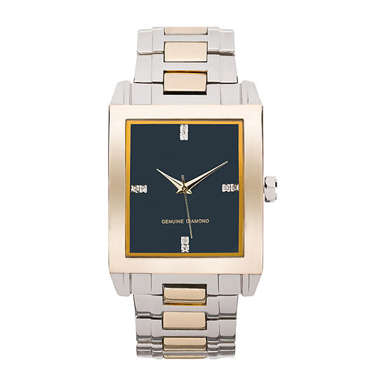 Red Bow Deal 1/10 C.T. T.W. Diamond Mens Two Tone Watch Boxed Set-Jcp3516g81a-039