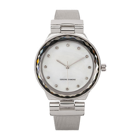 Red Bow Deal 1/10 C.T. T.W. Diamond Womens Diamond Accent Silver Tone Watch Boxed Set Jcp13300s81a-004, One Size