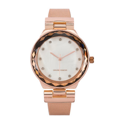 Red Bow Deal 1/10 C.T. T.W Diamond Womens Rose Goldtone Watch Boxed Set-Jcp13300r81a-228