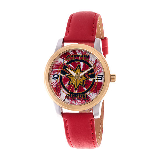 Marvel Marvel Mens Red Leather Strap Watch-Wma000322
