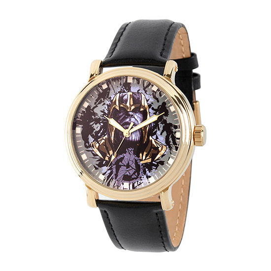 Marvel Avengers Mens Black Leather Strap Watch-Wma000348