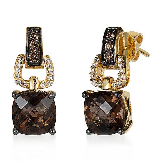 LIMITED QUANTITIES! Le Vian Grand Sample Sale™ Earrings featuring Chocolate Quartz®, Chocolate Diamonds®, Vanilla Diamonds® set in 14K Honey Gold™