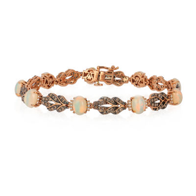 LIMITED QUANTITIES! Le Vian Grand Sample Sale™ Bracelet featuring Neopolitan Opal™, Chocolate Diamonds®, Vanilla Diamonds® set in 14K Strawberry Gold®