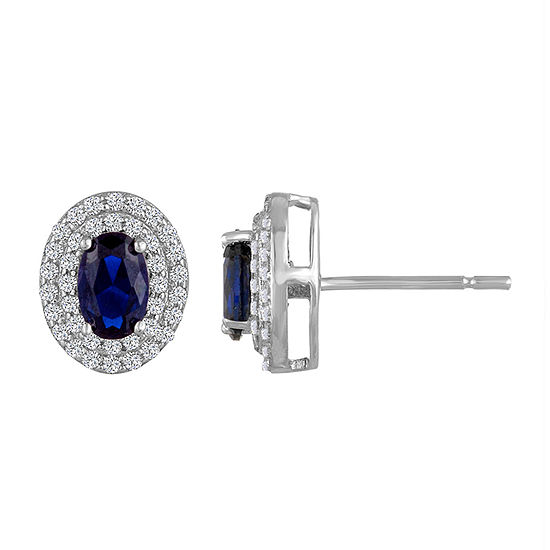 Lab Created Blue Sapphire Sterling Silver 10.2mm Stud Earrings