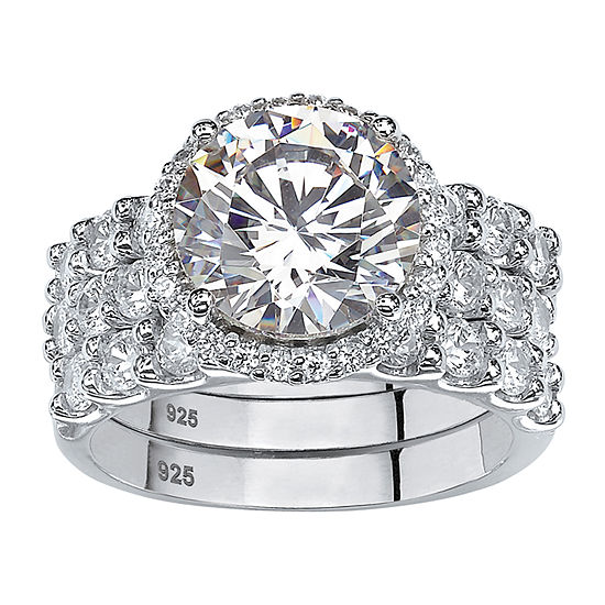 Diamonart Womens 5 3/4 CT. T.W. White Cubic Zirconia Platinum Over Silver Bridal Set