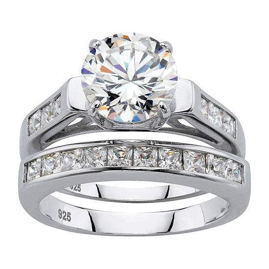 Diamonart Womens 4 1/2 CT. T.W. White Cubic Zirconia Platinum Over Silver Bridal Set