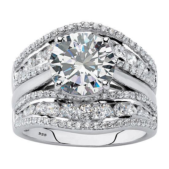 DiamonArt® Womens 4 1/4 CT. T.W. White Cubic Zirconia Platinum Over Silver Bridal Set