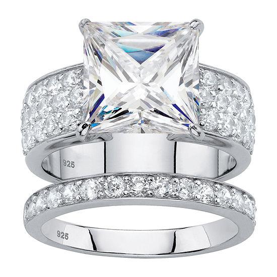 Diamonart Womens 4 3/4 CT. T.W. White Cubic Zirconia Platinum Over Silver Bridal Set