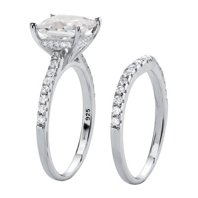 Diamonart Womens 2 3/4 CT. T.W. White Cubic Zirconia Platinum Over Silver Bridal Set