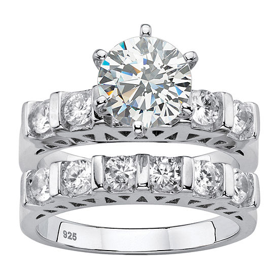 Diamonart Womens 3 Ct Tw White Cubic Zirconia Platinum Over Silver Bridal Set