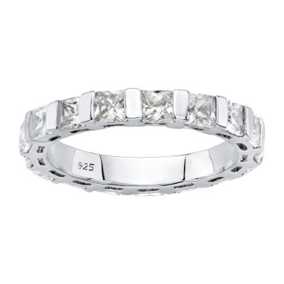Womens 4MM 2 3/4 CT. T.W. White Cubic Zirconia Platinum Over Silver Band