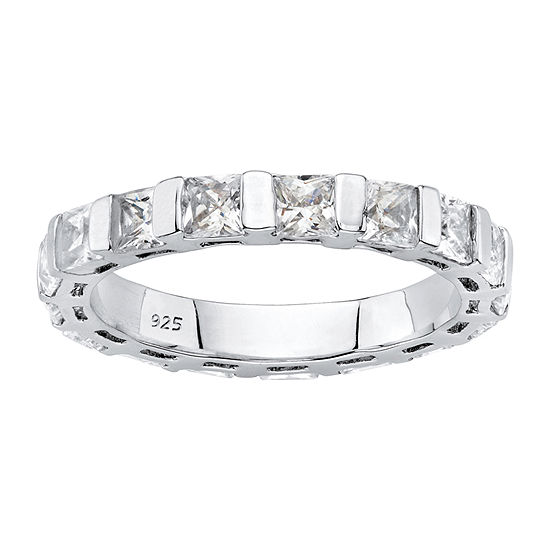 4MM 2 3/4 CT. T.W. White Cubic Zirconia Platinum Over Silver Band