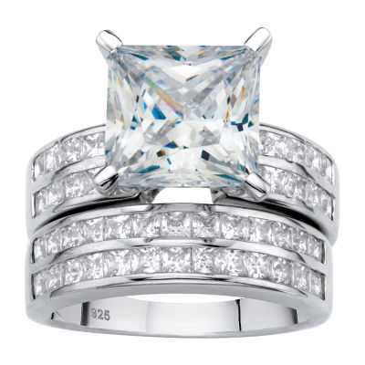 Diamonart Womens 5 1/4 CT. T.W. White Cubic Zirconia Platinum Over Silver Bridal Set