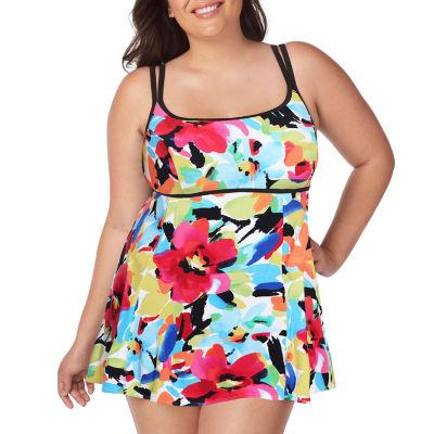 St. John's Bay Floral Swim Dress Plus