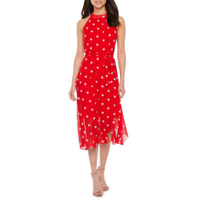 Studio 1 Sleeveless Polka Dot Maxi Dress