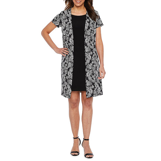 Perceptions Short Sleeve Floral Puff Print Faux Jacket Dress