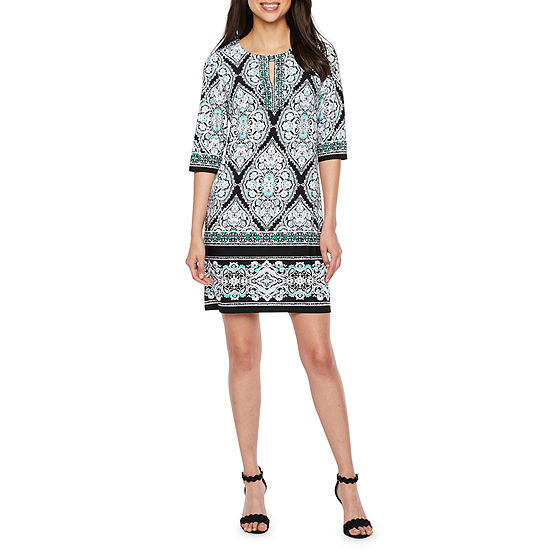 Studio 1 3/4 Sleeve Medallion Puff Print Shift Dress