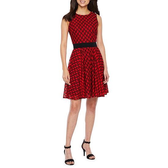 Danny Nicole Sleeveless Grid Fit Flare Dress