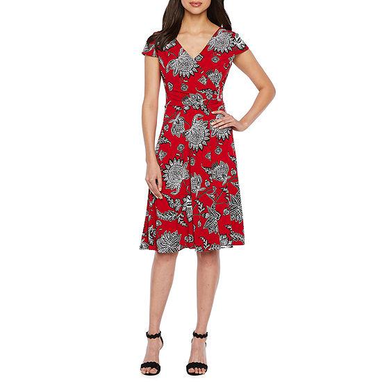 Studio 1 Short Sleeve Floral Puff Print Wrap Dress