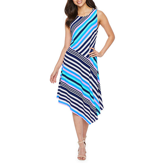 Nicole Miller Sleeveless Striped Fit & Flare Dress
