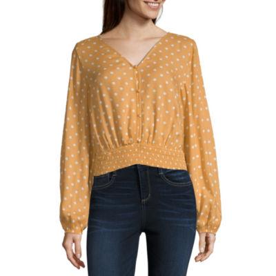 Arizona Womens Long Sleeve Slim Fit Button-Front Shirt-Juniors