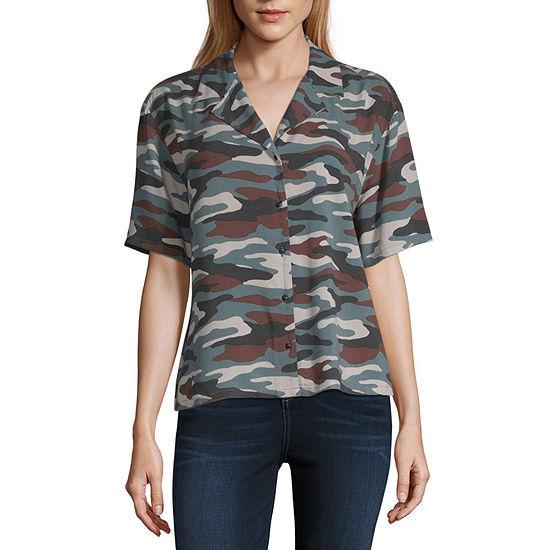 Arizona Short Sleeve Button-front Shirt-Juniors