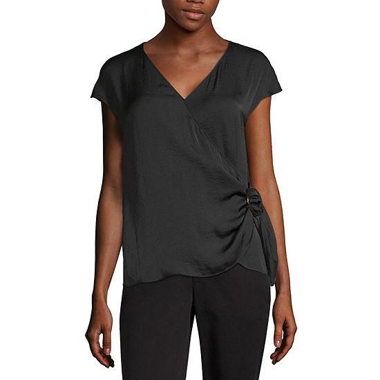 Worthington Womens V Neck Sleeveless Wrap Shirt