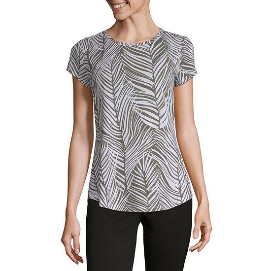 Liz Claiborne-Womens Round Neck Short Sleeve T-Shirt