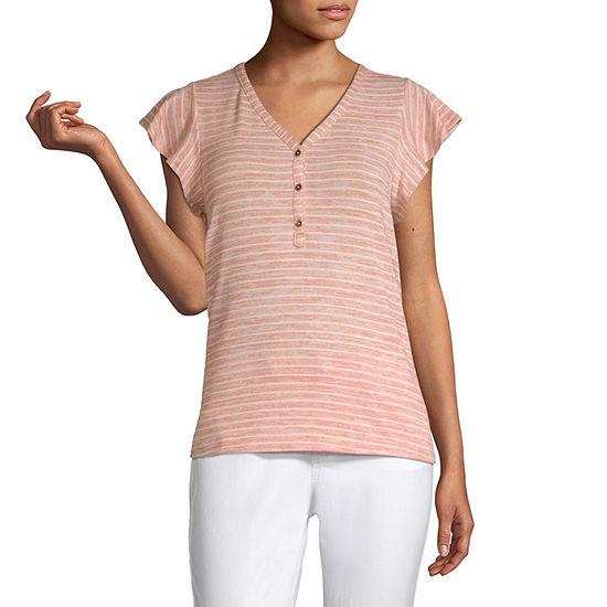 a.n.a-Tall Womens Short Sleeve Snit Flutter T-Shirt