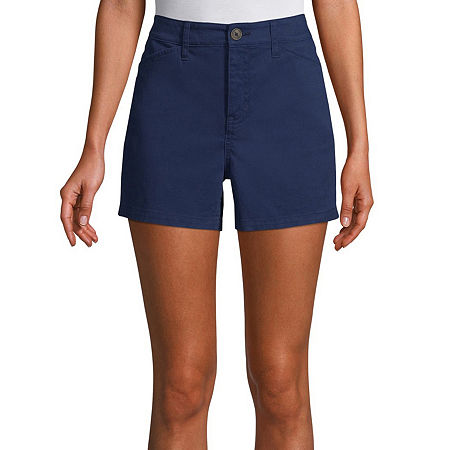 St. John's Bay Womens Mid Rise Chino Short, 12 Petite , Blue