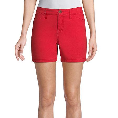 St. John's Bay Womens Mid Rise Chino Short, 8 Petite , Red