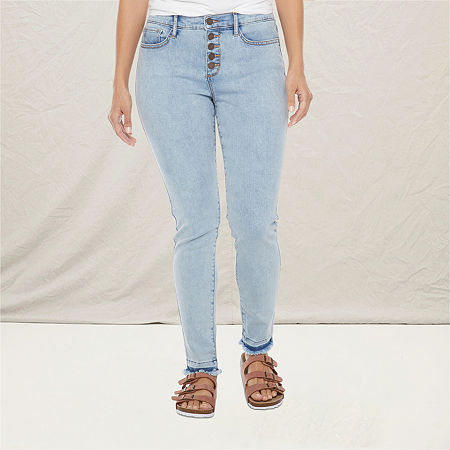 a.n.a Womens High Rise Button Fly Skinny Jean, 2 , Blue