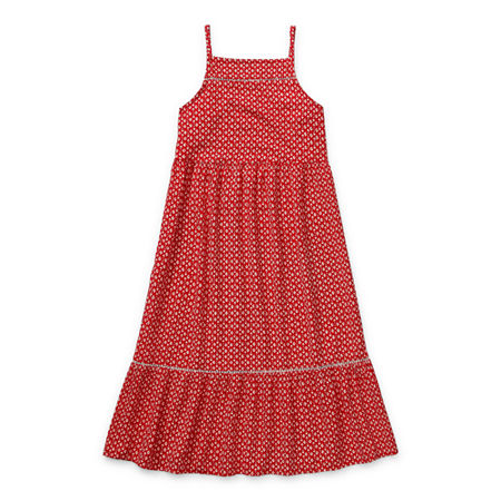 60s 70s Kids Costumes & Clothing Girls & Boys Arizona Little  Big Girls Sleeveless Maxi Dress 14.5 Plus  Red $14.99 AT vintagedancer.com